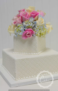 2 Tier square wedding cake with roses