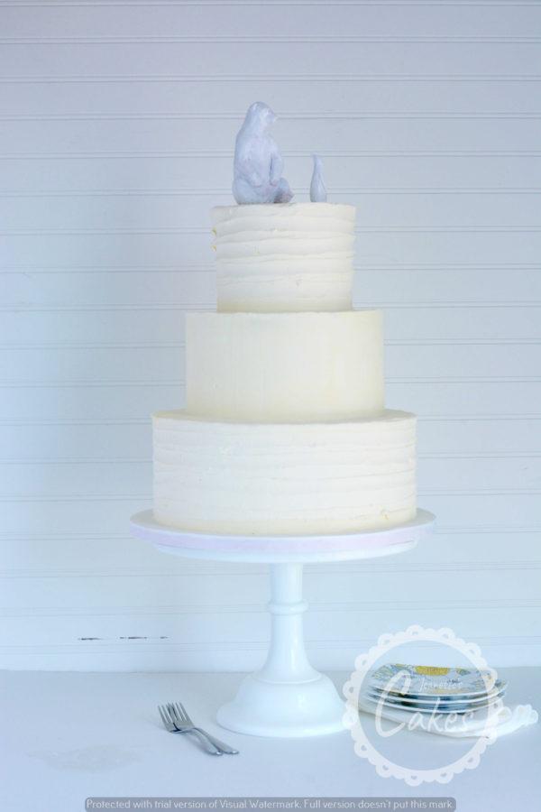 Three Tier cake with buttercream swirl