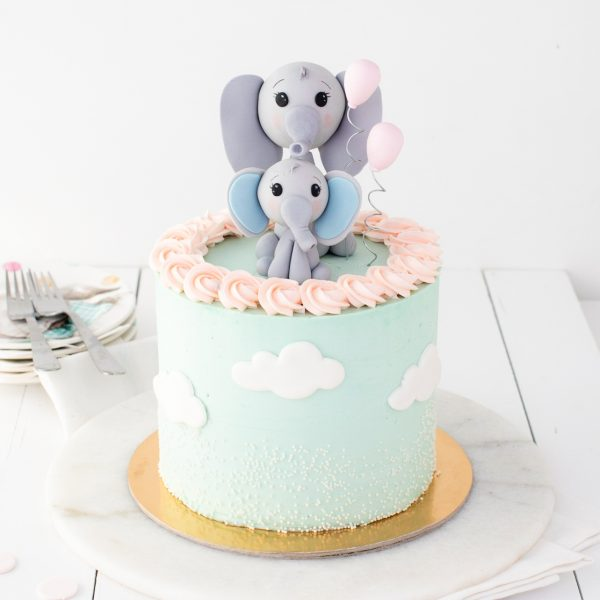Mom and baby elephant cake